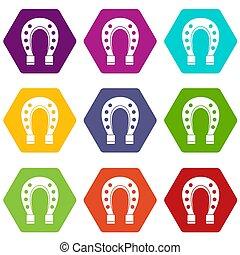 Horse shoe icon set color hexahedron