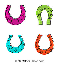 Horse shoe icon set, color outline style