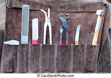 Horse shoeing tools hammer pullers tacks file