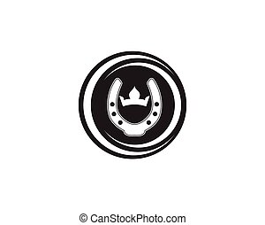 Horse shoes black logo and symbols vector template