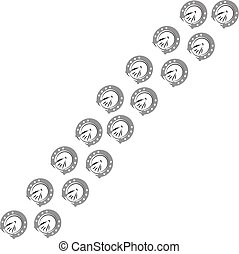 Horse shoes on white background. Vector illustration.
