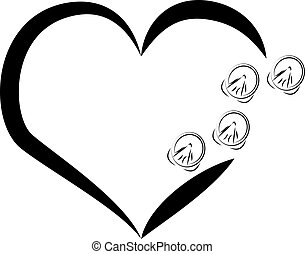 Horse shoes with heart on white background