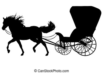 Horse silhouette - Black silhouette of a horse with carriage