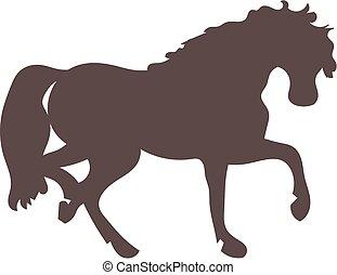 Horse silhouette - A horse running