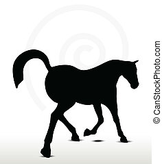 horse silhouette in Prancing position - EPS 10 Vector -...