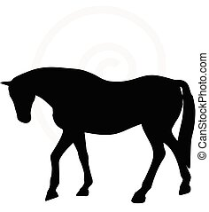 horse silhouette in walking head down - Vector Image - horse...