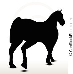 horse silhouette in walking position - EPS 10 Vector - horse...