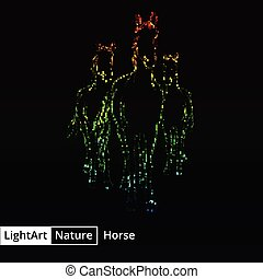 Horse silhouette of lights on black background