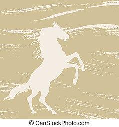 horse silhouette on grunge background, vector illustration