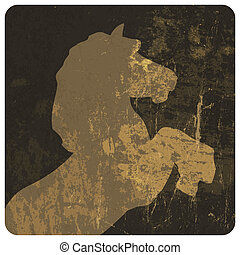 Horse silhouette on grunge texture. Vector, EPS10