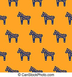 Horse silhouette seamless pattern with floral decorative texture blue and orange colored.