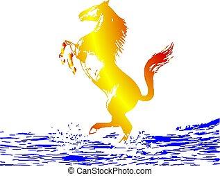 horse, silhouette