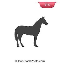 horse silhouette vector, icon, farm