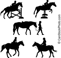 Horse Silhouettes - A group of five silhouettes featuring...