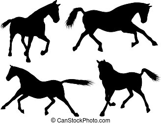 Horse silhouettes - Various silhouettes of horses running