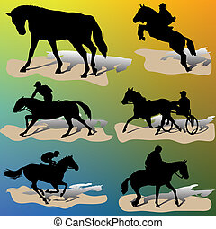 Horse silhouettes-vector