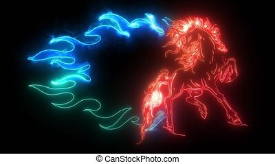 Horse silhouettes with flame tongues. digital neon video - ...