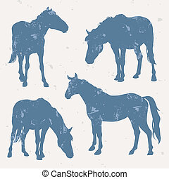 Horse silhouettes with grunge effec