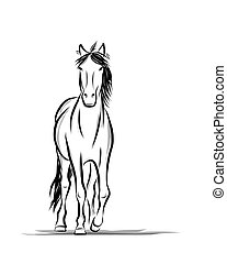 Horse sketch for your design. Symbol of 2014 year
