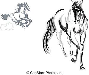 Horse sketch - Horse drawing vector illustration