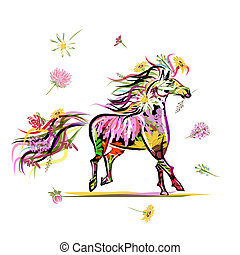 Horse sketch with floral decoration for your design. Symbol of 2014 year
