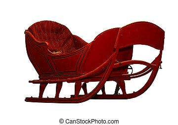 Horse snow sleigh - Vintage horse snow sleigh isolated over...