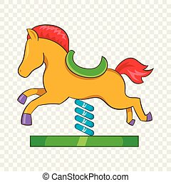 Horse spring see saw icon, cartoon style - Horse spring see ...