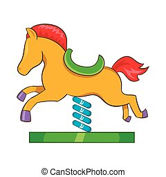 Horse spring see saw icon, cartoon style