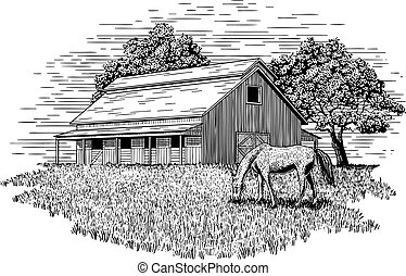 Horse Stable Illustration