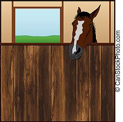 Horse is staring over the wooden wall of his stall