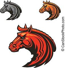 Horse stallion heads heraldic emblems