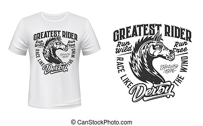 Horse stallion racing t-shirt vector print mockup