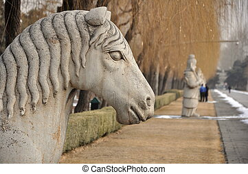 Horse Statue - Horse statue on the spirit way to the Ming...