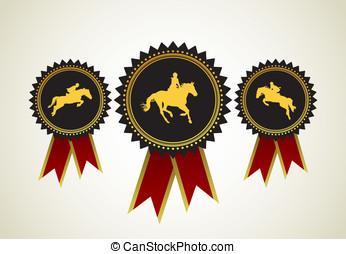 Horse symbol award rosette