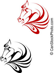 Horse tattoo symbol for design isolated on white