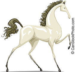 Horse - The white horse on a white background, vector