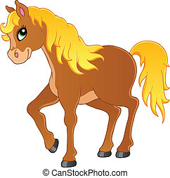 Horse theme image 1 - vector illustration.