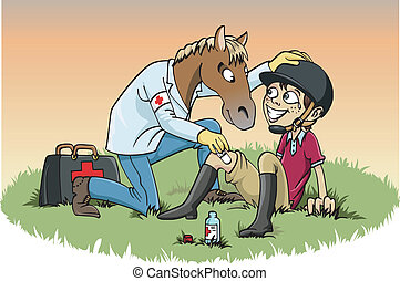 Cartoon-style illustration: a horse doctor giving medical treatment to an injured boy