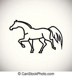 Horse thin line on white background