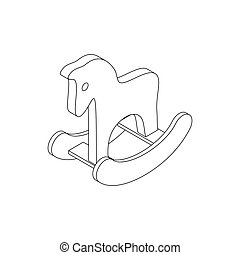 Horse toy icon, isometric 3d style