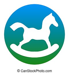 Horse toy sign. Vector. White icon in bluish circle on white background. Isolated.