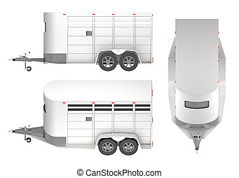 Horse trailer isolated on white 3d rendering