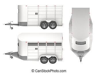 Horse trailer isolated on white 3d rendering
