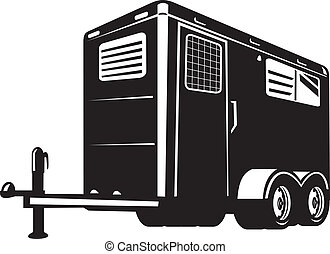 horse trailer viewed from low angle - illustration of a...