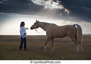 Horse training - Woman training horse in the steppe during...