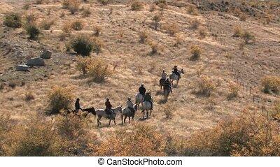Horse trek through tussock terrain.