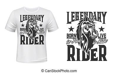 Horse trotter, horserace t-shirt print mockup