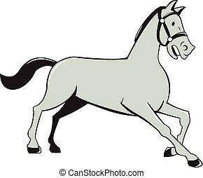Horse Trotting Side Cartoon Isolated