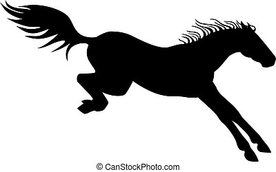 Horse. Vector black horse landing after a jump - a sign for a pictogram or logo. Jumping horse is being landed - icon.