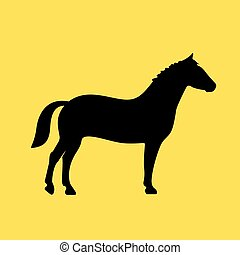 Horse vector icon on yellow background